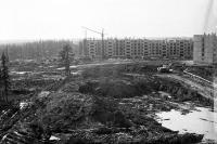 Строительство общежитий. Фото с балкона Строителей 9Б